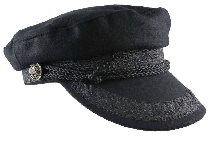 Black Melton Greek Fisherman's Fashion Cap Size Large
