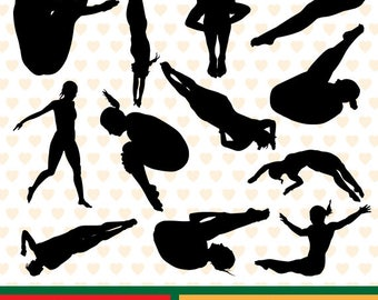 Diving women silhouettes sale, eps, svg, png and jpg files high resolution CL-SP-002