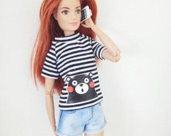 Barbie Clothes Striped Top T-Shirt