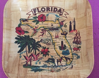 Very Kitchy Vintage Mid-Century Florida Bamboo Vaneer Square Bowl