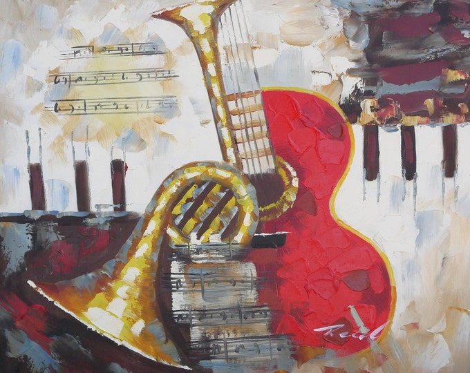 Jazz Art Painting Abstract Oil on Canvas Wall Beautiful Decor