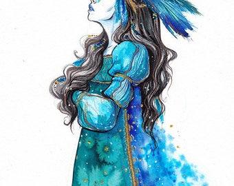 Original - Woman headdress with feathers - Inktober 2016
