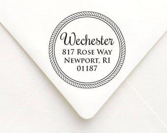 Personalized Nautical Tie Knot Calligraphy Return Address Stamp, Custom Address Stamp, Wedding Invitation Favor Stamp