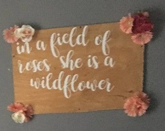 Field of Roses nursery wall decor