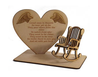 Loved Ones in Heaven 3D Memorial Plaque with Empty Rocking Chair with Original Verse Written by CJ Round