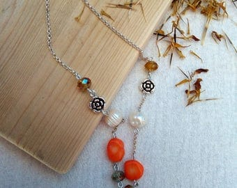 "Orange necklace with roses and pearls-""Persephone"""