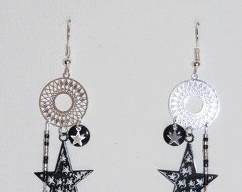 These prints, stars, black, silver, miyuki beads, mini earrings earrings star, pimprenellecreations