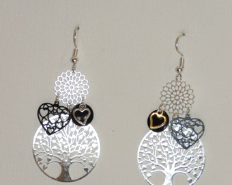 Earrings tree of life, love, hearts, flowers, prints, black, and silver 2018 trend earrings, pimprenellecreations