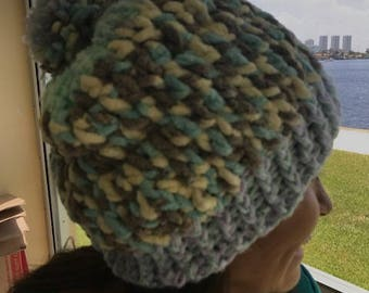 Winter beanie hat super soft and really warm, multicolor teal, white, baby blues, gray. Thick hand made crochet with pompom.