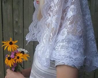 White Lace Mantilla Veil- Catholic Chapel Veil, Wedding Veil, Mantilla