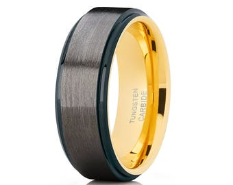 Black Tungsten Wedding Band Yellow Gold Gunmetal Wedding Band Tungsten Carbide Ring Men & Women Anniversary Ring