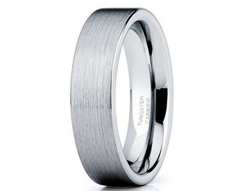 Silver Tungsten Wedding Band Men & Women Tungsten Carbide Ring Anniversary Band Tungsten Carbide Ring Comfort Fit