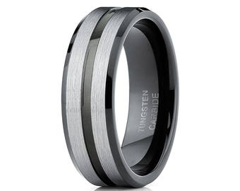 Gray Tungsten Wedding Band Tungsten Carbide Men & Women Black Tungsten Wedding Ring Brush Wedding Band Engagement