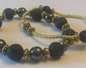 Gorgeous Hematite and Lava stone bracelet SET