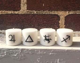 Sagittarius Candles, Zodiac Sign Sagittarius set of 4 Votive Candles, Gift