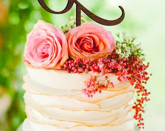 Letter L Cake Topper Custom wedding cake topper L gold monogram wedding cake topper initial cake topper letter O Rustic Wedding cake topper