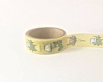 Cute roll ochre yellow Washi Tape with succulent plant doodle print // Decoration DIY Masking Bullet Journal Craft Plants Flora hangplant