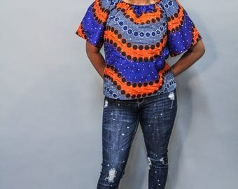 Lola - Ankara Off the Shoulder Top with Handstoning