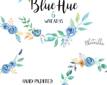 6 Watercolour Blue Hue Floral Wreaths Clipart INSTANT DOWNLOAD Teal Aqua Wedding Leaves Hand-painted Blooms Garlands Clip Art PNGs Digital