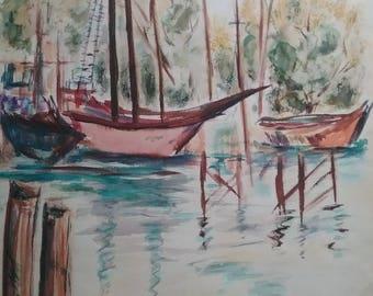 Vintage Original Watercolor Painting Signed by Artisit Fleurette 1970 unframed