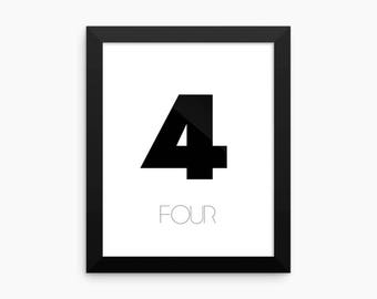 Number 4 Digital Print, Printable Art, Digital Art Print, Home Decor, Wall Art, Typography Digital Print