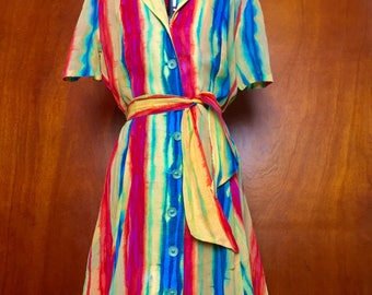 Light sheer rainbow summer shirt dress