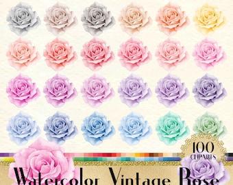 100 Watercolor Vintage Rose Clipart, Rose Clipart, Watercolor Clipart, Vintage Clipart, 100 PNG Clipart, Planner Clipart, Valentine Clip Art