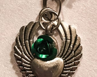 Dangling silver tone winged heart green rose charm crystal rhinestone 14g belly button ring navel piercing jewelry