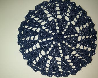 Crochet Doily Lace doilies,Navy BlueTable decoration,Crocheted Doilies Centrepiece,Hand Made Wedding Doily,Napkin Boho Bohemian Decor,Round