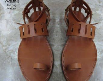 Sandals Women's,Women's Sandals,Handmade leather Sandals,Toe ring Sandals,Leather sandals in natural color, Sandals,Greek Sandals,YASMINE