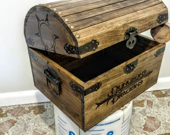 Dungeons & Dragons Tabletop Gaming Dice Storage Chest  |  DnD Gaming Dice Storage Chest | Dungeons n Dragons Tabletop DnD Dice Stash Box