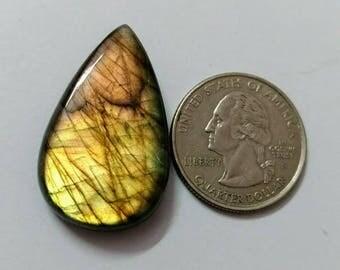 33.85 x 20.85mm,Pear Shape  Labradorite Cobochon/Golden Flash/wire wrap stone/Super Shiny/Spectrolite Cabochon/Semi Precious Gemstone/labra