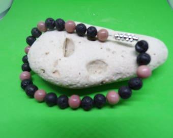 Rhodonite and lava stone bracelet