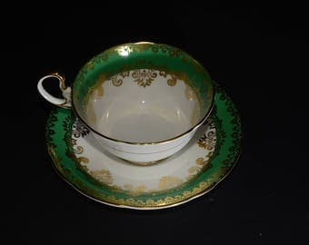 AYNSLEY, Vintage, MINT, 1057, Tea cup and Saucer, Green Corset Shape, Gold Filigree, Pink Tea Cup, Bone China, Gold Rimmed, England, 1930s