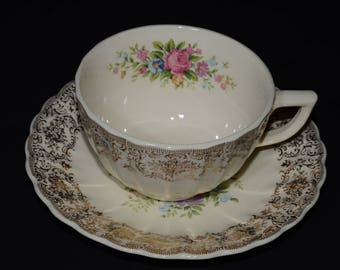 Similar to 22K Gold, Triumph, Limoges, teacup and saucer, very good vintage condition, floral center, Gold Filigree, Floral, Rosalie