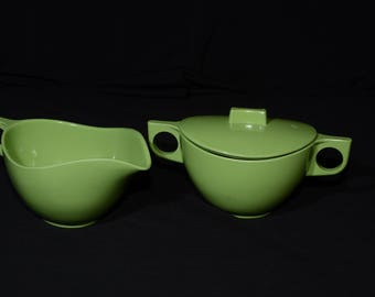 Vintage, MELMAC, Melamine, Green, Creamer and Sugar Bowl with Lid, Dinnerware, Apple Green, Hard Plastic, Camping, Made in Canada