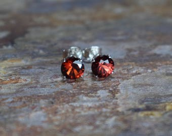 6mm Mozambique Garnet & 925 Sterling Silver Claw Stud Earrings, Gemstone Jewellery UK, January Birthstone, Gift for Wife