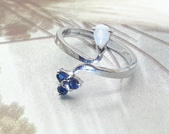 Sapphire and Opal Sterling Silver Vintage Ring/Free Shipping US/Rhodium Plated/October Birthstone/September Birthstone/Christmas/Valentine