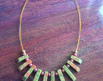 "Unakite Jasper - Beautiful Handmade Beaded Bib Necklace with Gold Plated Fastenings - 15"" Chain"