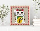 PDF DOWNLOAD: Manekineko cross stitch pattern, Lucky cat, Modern Cross Stitch Pattern, Cute Cross Stitch Pattern, Instant Download PDF