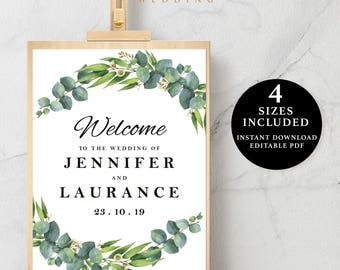 Green Leaves Welcome Sign Template, 16x20, 18x24, 20x30, 24x36, Instant Download Printable, Editable PDF, EWSC002