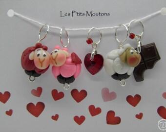 Anneaux marqueurs Les P'tits Moutons - Spéciale St Valentin 2018: coeur rouge & choco croqué