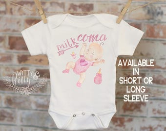 Milk Coma Baby Onesie®, Funny Onesie, Unique Onesie, Joke Onesie, Cute Baby Bodysuit, Cute Onesie, Boho Baby Onesie, Girl Onesie - 289M