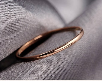 fine ring 18k rose gold White Gold yellow wire wedding band stackable Ring friendship dainty delicate tiny ring solid simple 18k gold ring