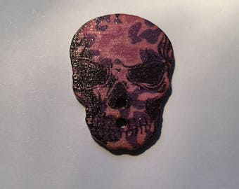 """""""Skull"""" pink and purple wooden button"""