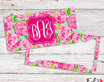 Monogrammed Lilly Inspired License Plate/Frame - First Impression