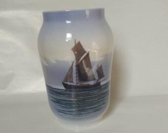 Vintage Royal Copenhagen Porcelain Vase Sailing Ship n Sea Seagull