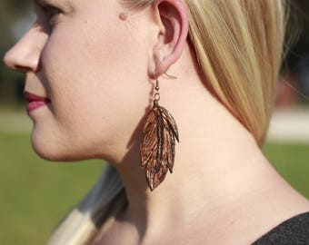 Cambria Feather Earrings | Leather Earrings | Birthday Gift | Anniversary | Gifts under 25 | Handmade | Gifts for Her