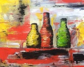 Bottles - Abstract Palette Knife Oil Painting