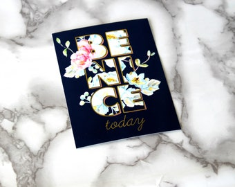 Beautiful Boho Be Nice Today Text Blank Card, Floral French Theme Postcard, Birthday Gifts For Her, Floral Vibes, Planner Card, DIY Supplies